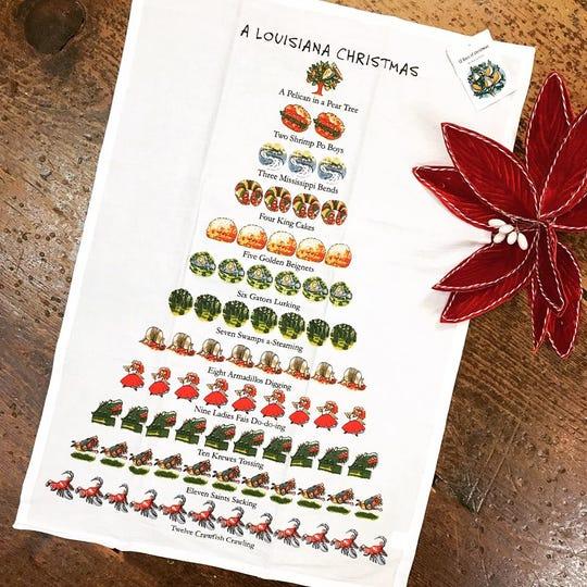 """A Louisiana Christmas"" kitchen towel"