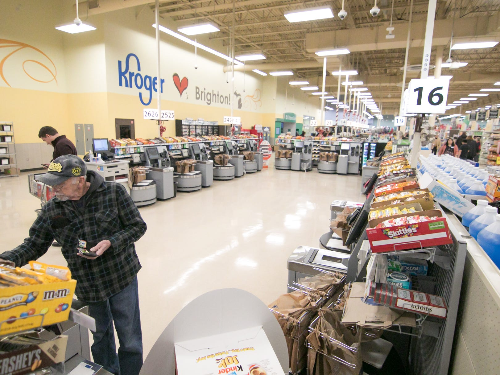 An expanded self-checkout area is among the improvements found at the Brighton Kroger store, Wednesday, Dec. 5, 2018.