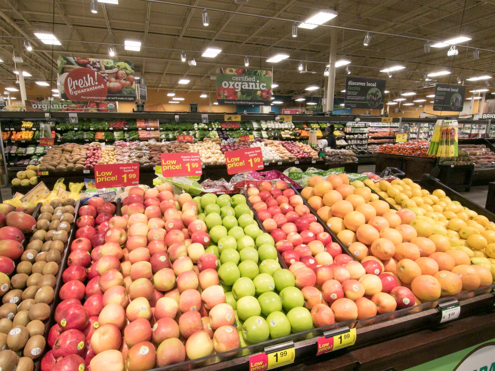 An expanded produce area is among the many improvements to the Brighton Kroger, shown Wednesday, Dec. 5, 2018.
