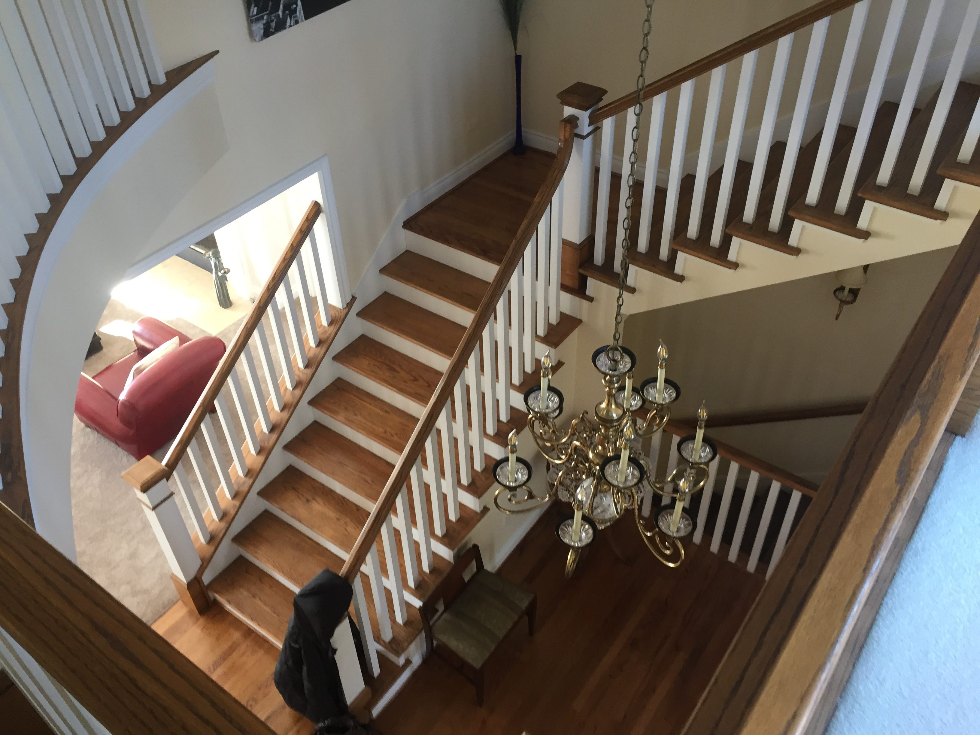 Winding staircases provide access from main level to the upper level and walk-out basement in a Clifford Road home in Genoa Township, shown Tuesday, Dec. 4, 2018