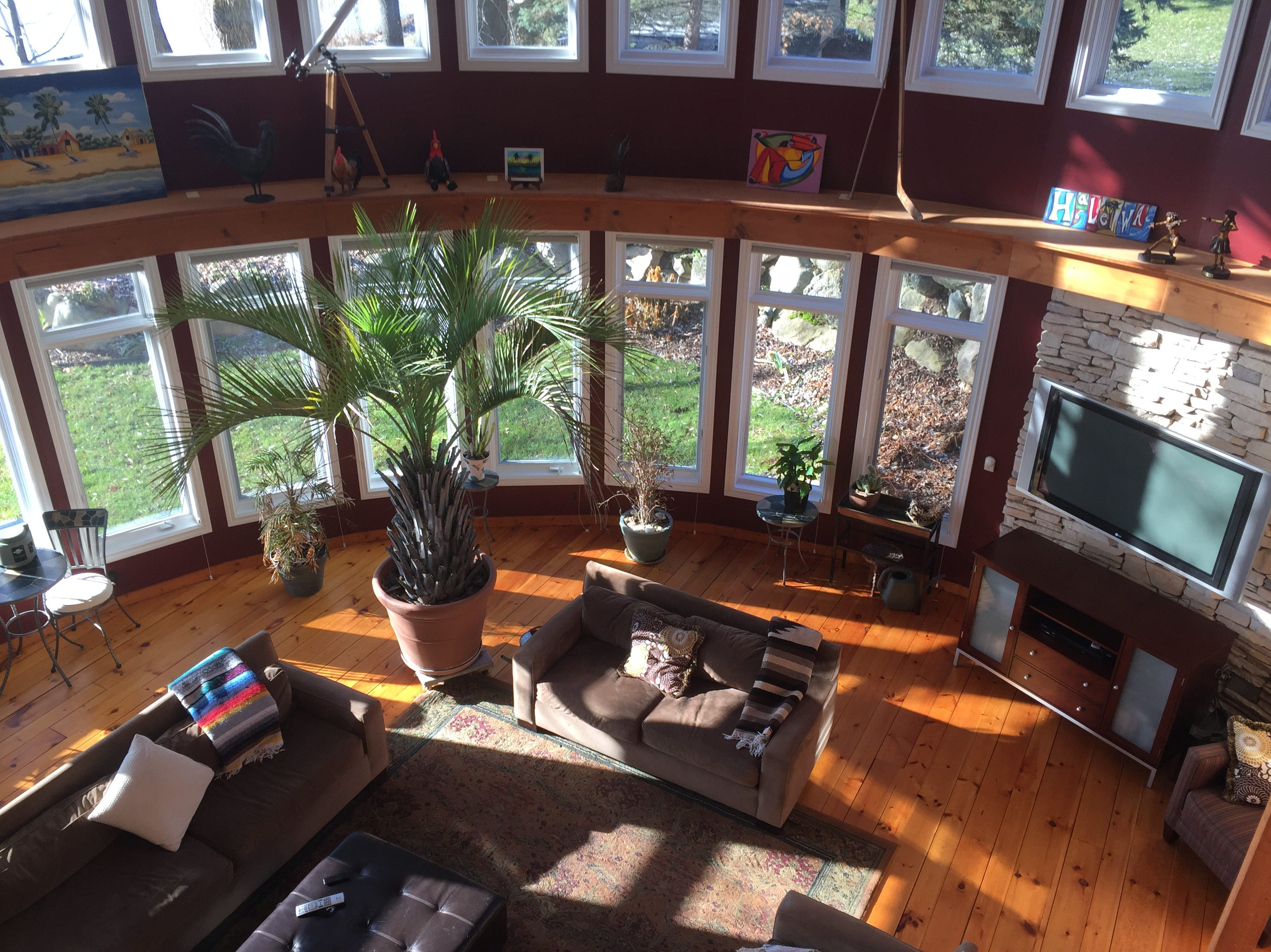 A view of a two-story great room in a Clifford Road home in Genoa Township is shown Tuesday, Dec. 4, 2018.