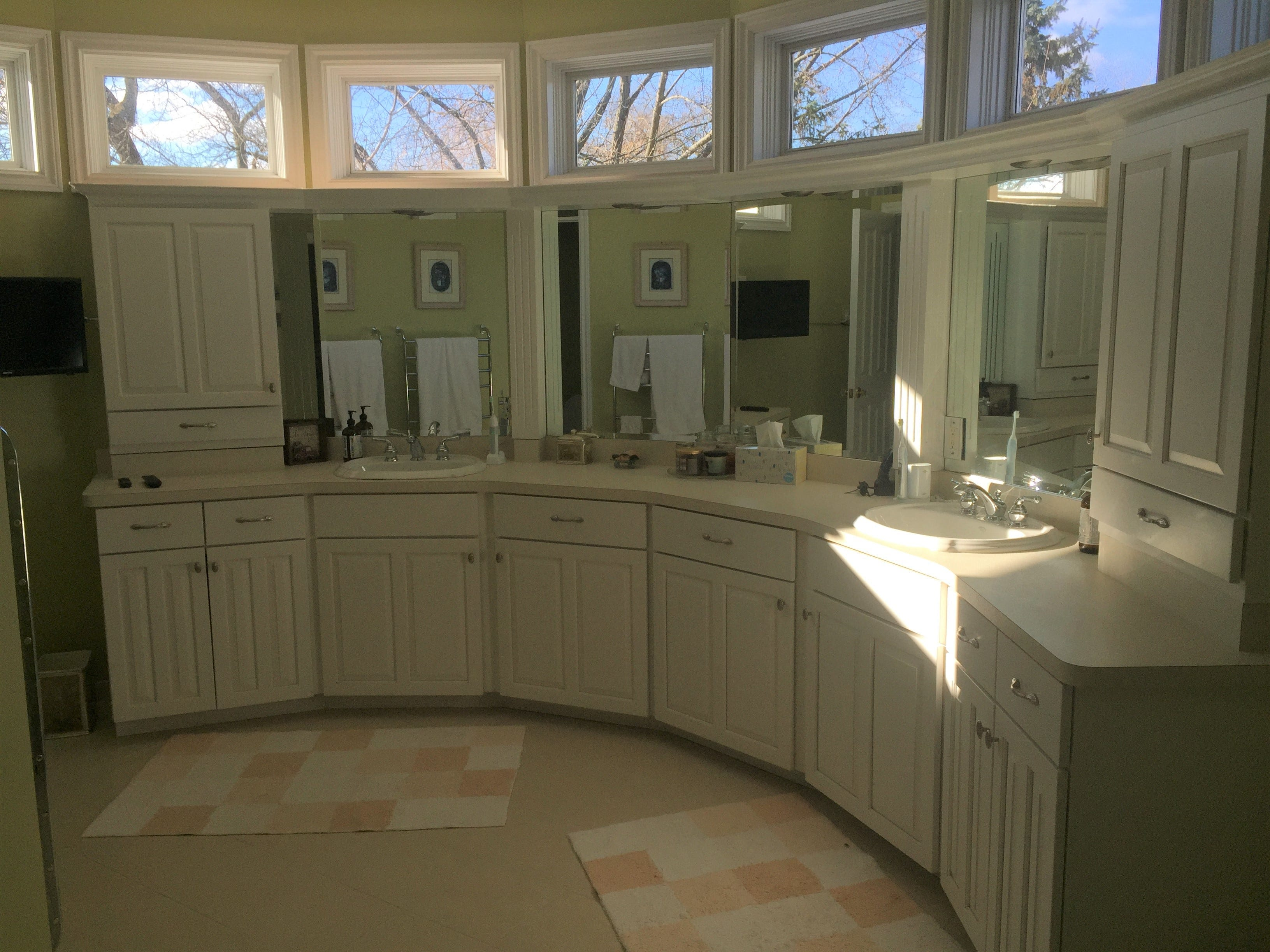 A master bathroom features a rounded counter in a Clifford Road home in Genoa Township, shown Tuesday, Dec. 4, 2018
