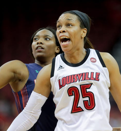 Louisville's Asia Durr yells during a play.  Dec. 4, 2018