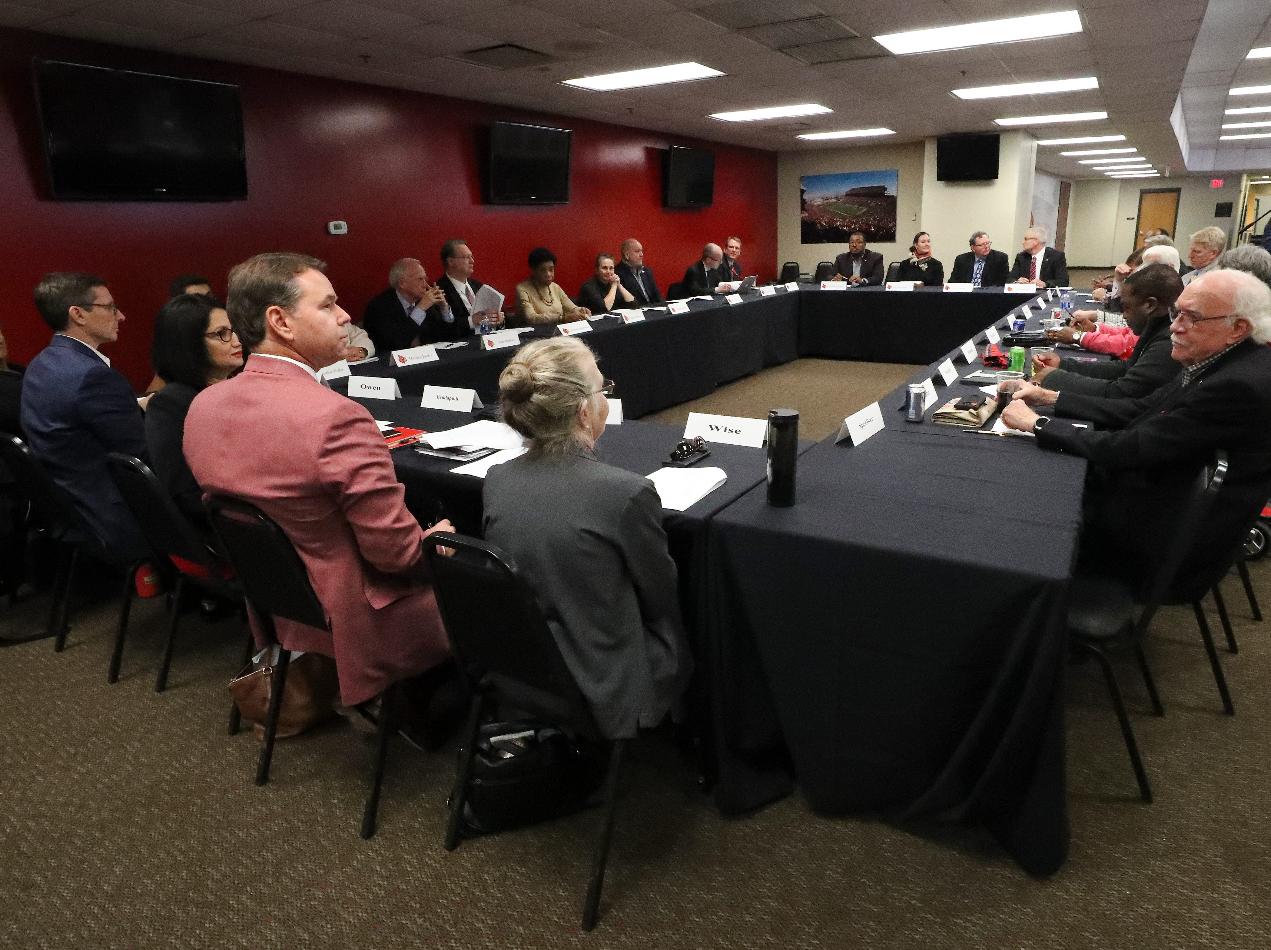 The University of Louisville Athletic Association met before approving Scott Satterfield as the new U of L head football coach at Cardinal Stadium.  Dec. 4, 2018