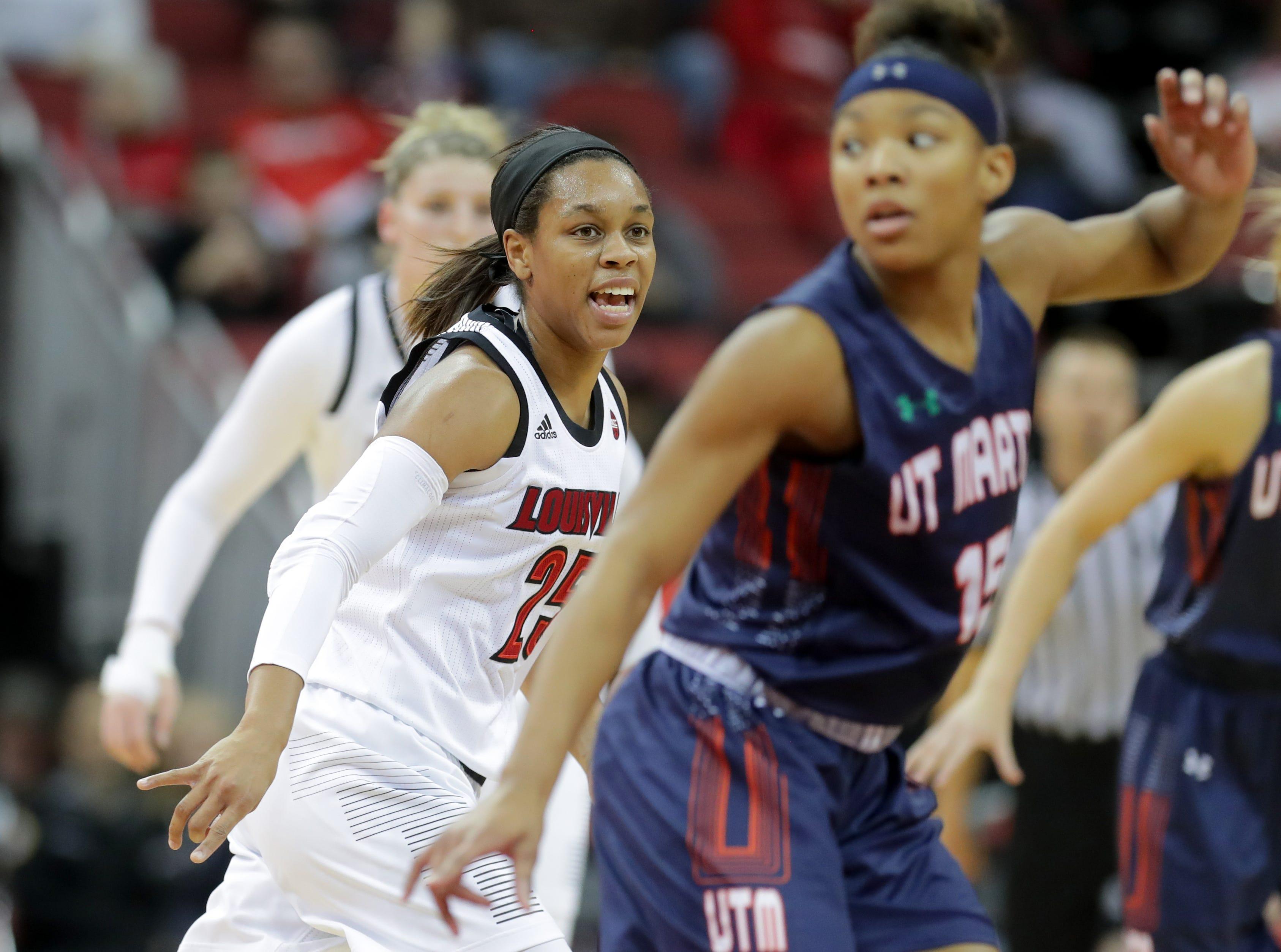 Louisville's Asia Durr gets back on defense.  Dec. 4, 2018