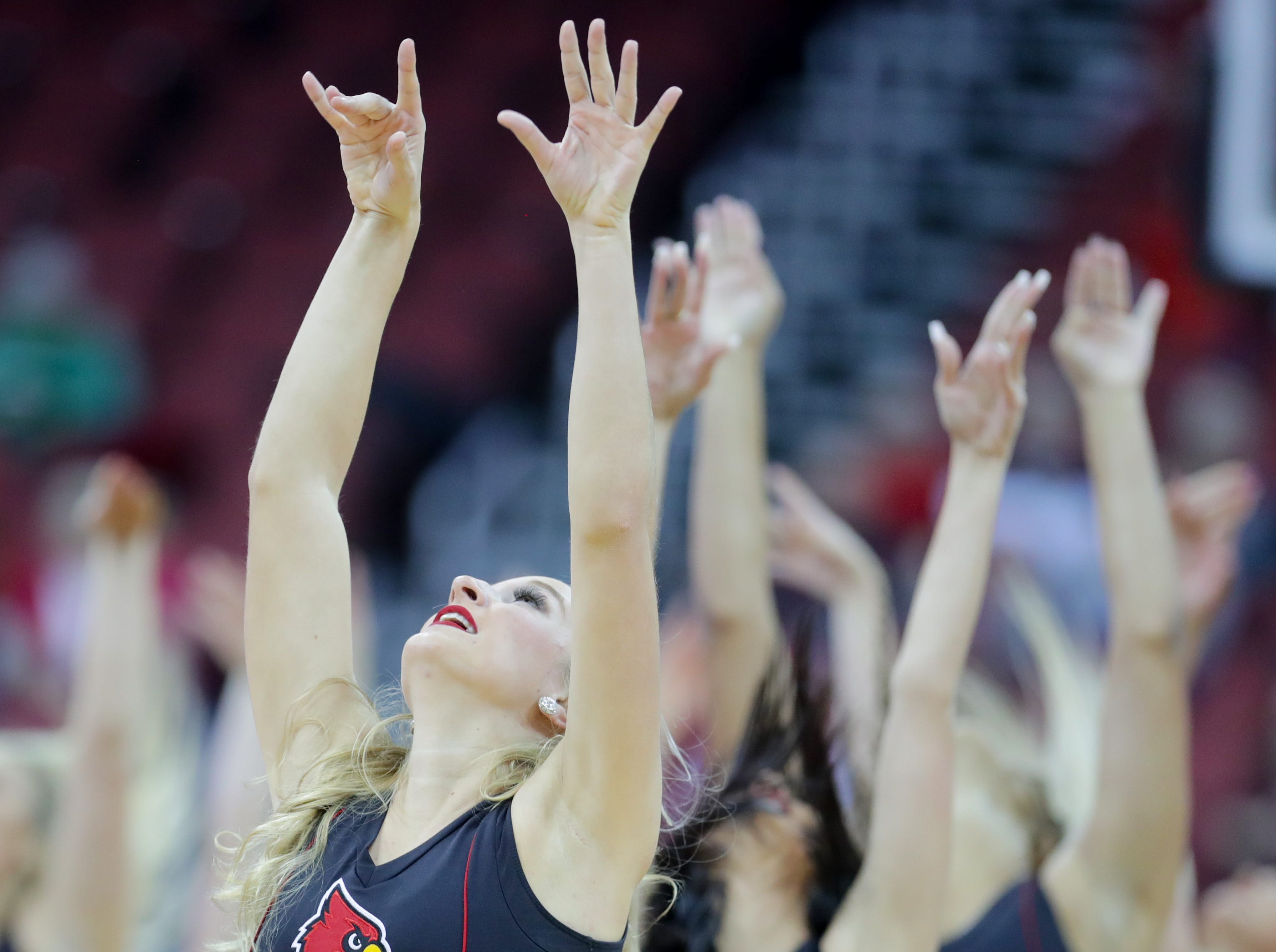 The Louisville Ladybirds entertain the crowd during a timeout.   Dec. 4, 2018