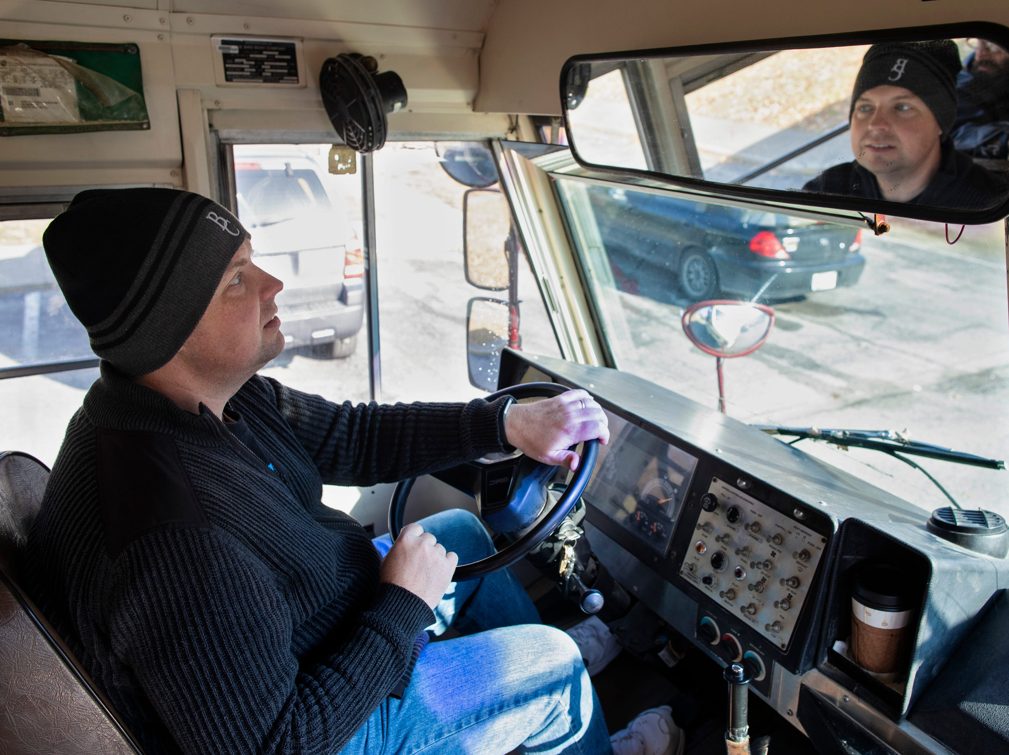 Hope To Others co-founder Billy Snowden drives a church van to pick-up anyone in need of a ride to a Thanksgiving feeding hosted by the Austin Fire Department. Nov. 22, 2018