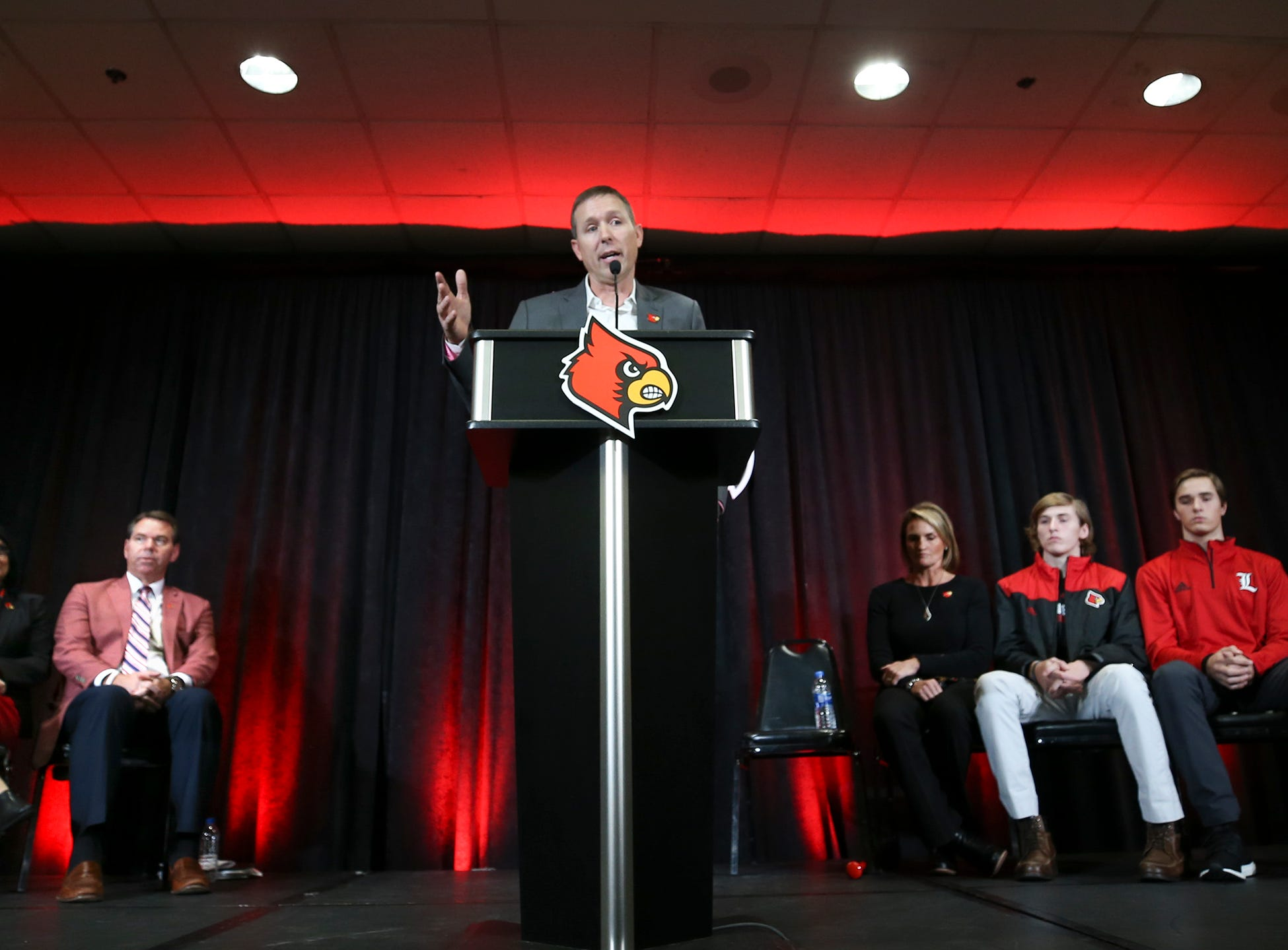 Coach Scott Satterfield speaks after being named coach at Louisville on Tuesday evening.  Satterfield's family is on the right.  December 4, 2018