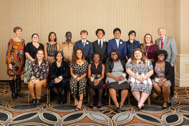 15 local students from the Louisville area were named 2018 Youth Character Award honorees. They are pictured with YMCA President/CEO Steve Tarver, and Board Chair Tricia Burke.