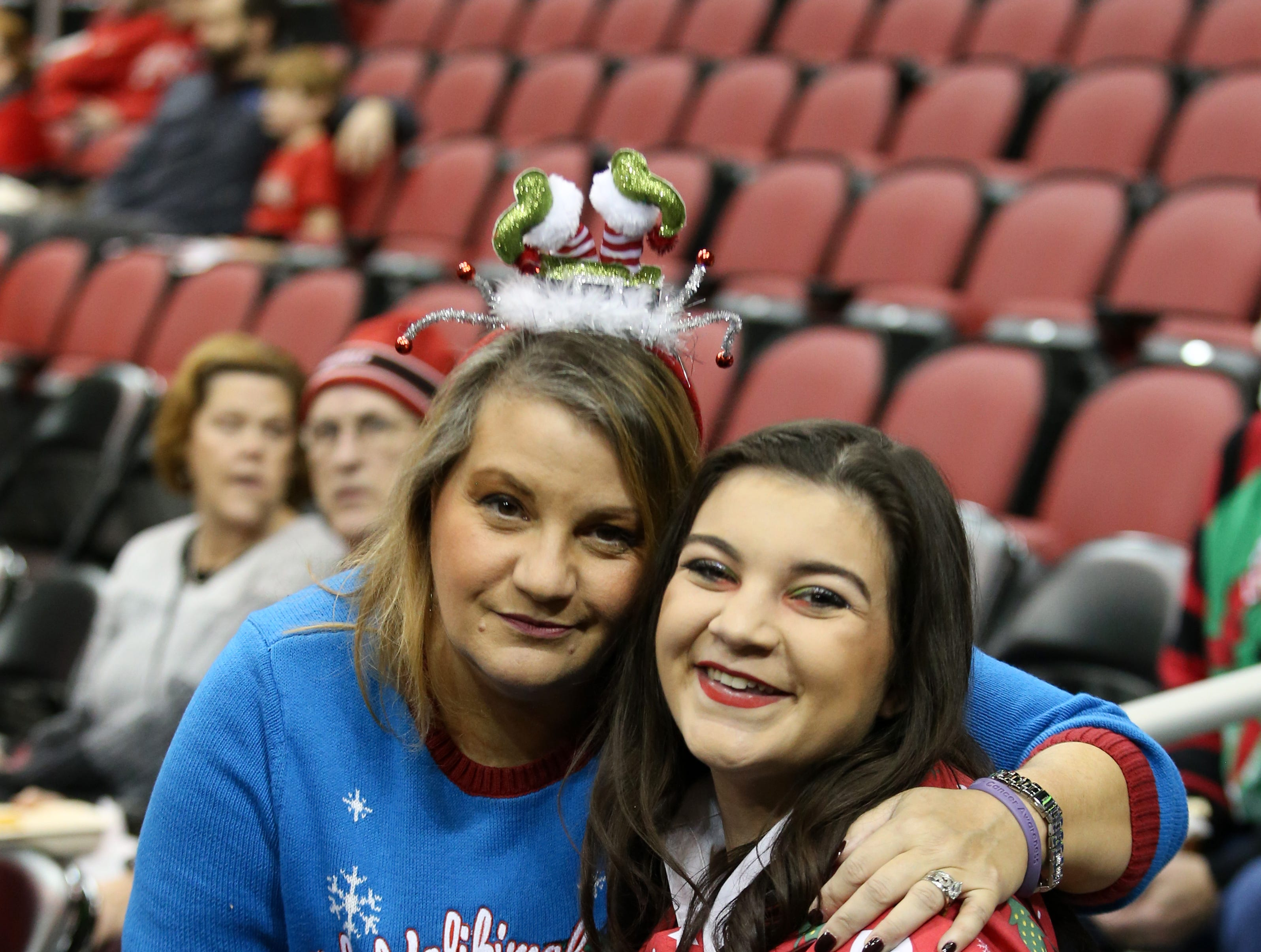 Many of the fans at the Louisville vs UT Martin joined in on the Ugly Christmas Sweater night.   