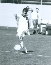 Michigan State soccer coach Damon Rensing, shown here in an undated photo during his playing days for MSU from 1993-96.