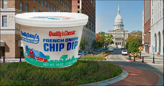 Ty Forquer, part of the Twitter account Lansing Facts, suggested the Quality Dairy French Onion Dip container as a suggestion for the city's new sculpture at the Washington Avenue roundabout.