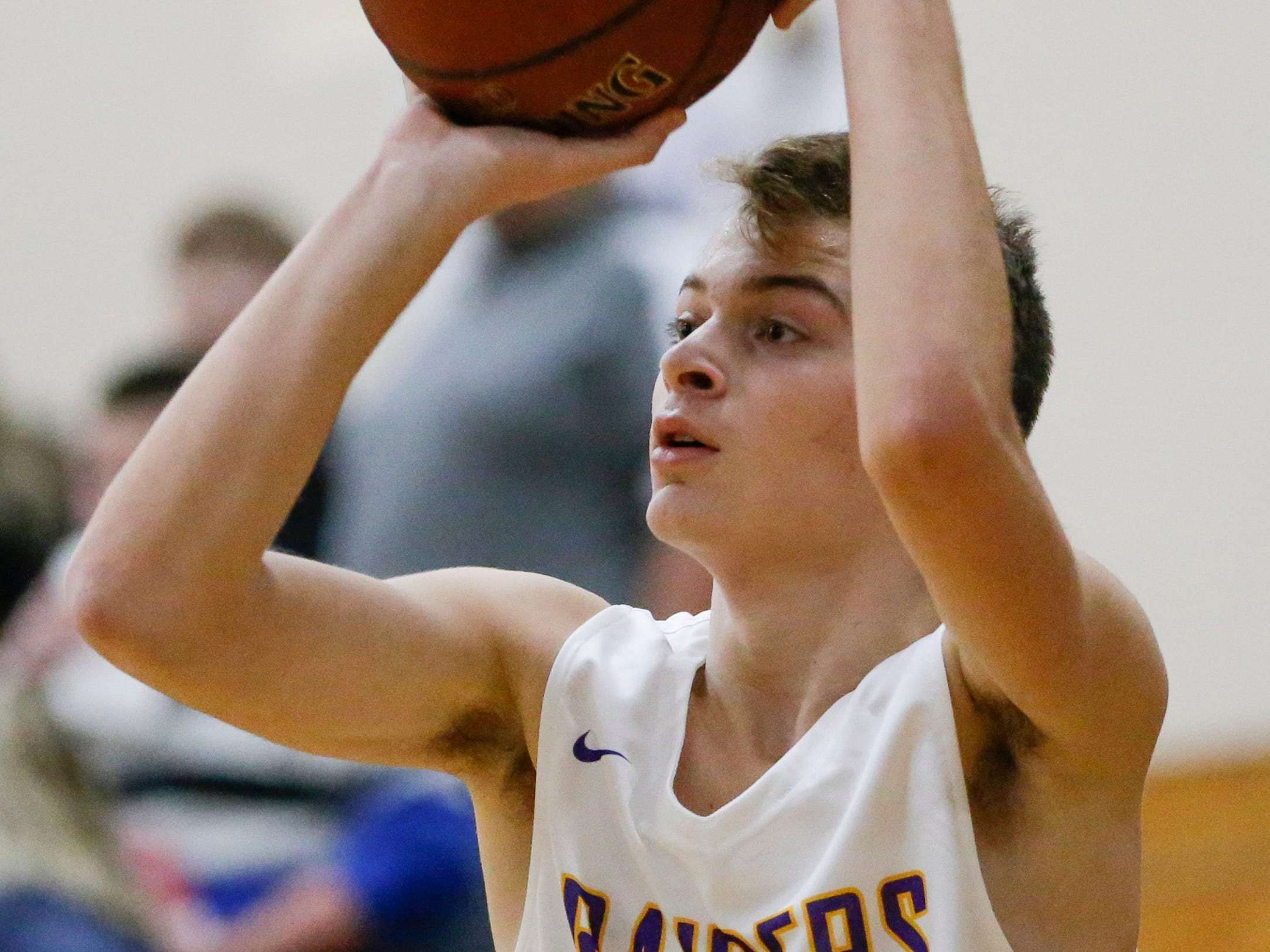 Two Rivers' Alexander Klein shoots against Sheboygan Falls during an Eastern Wisconsin Conference game at Two Rivers High School Tuesday, December 4, 2018, in Two Rivers, Wis. Joshua Clark/USA TODAY NETWORK-Wisconsin