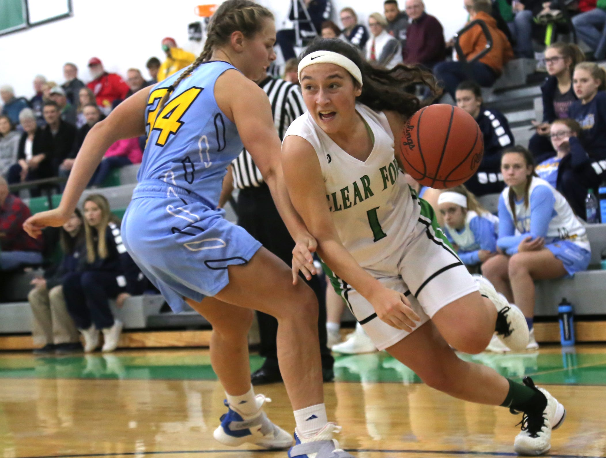 Clear Fork's Morgan Galco dribbles the ball against River Valley's Gema Starrs on Tuesday.