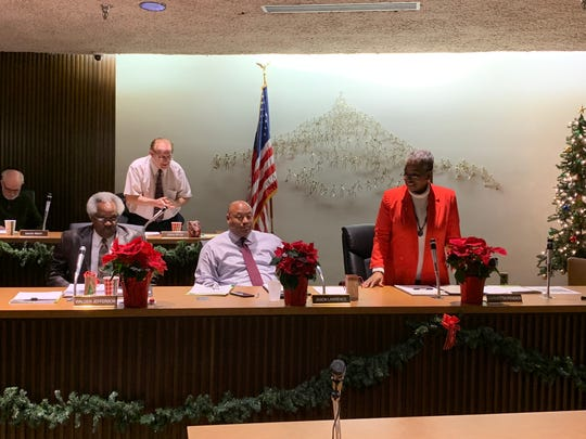 Sixth ward Mansfield city councilwoman Garnetta Pender, who is retiring at the end of the year, addresses the other council members in attendance December 4, 2018.