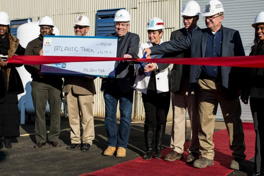 December 05 2018 - Employees and guests of Atlantic Track and Turnout Co. gathered together for a ribbon cutting to open their new curved-rail production facility. The facility will support 20 new jobs.