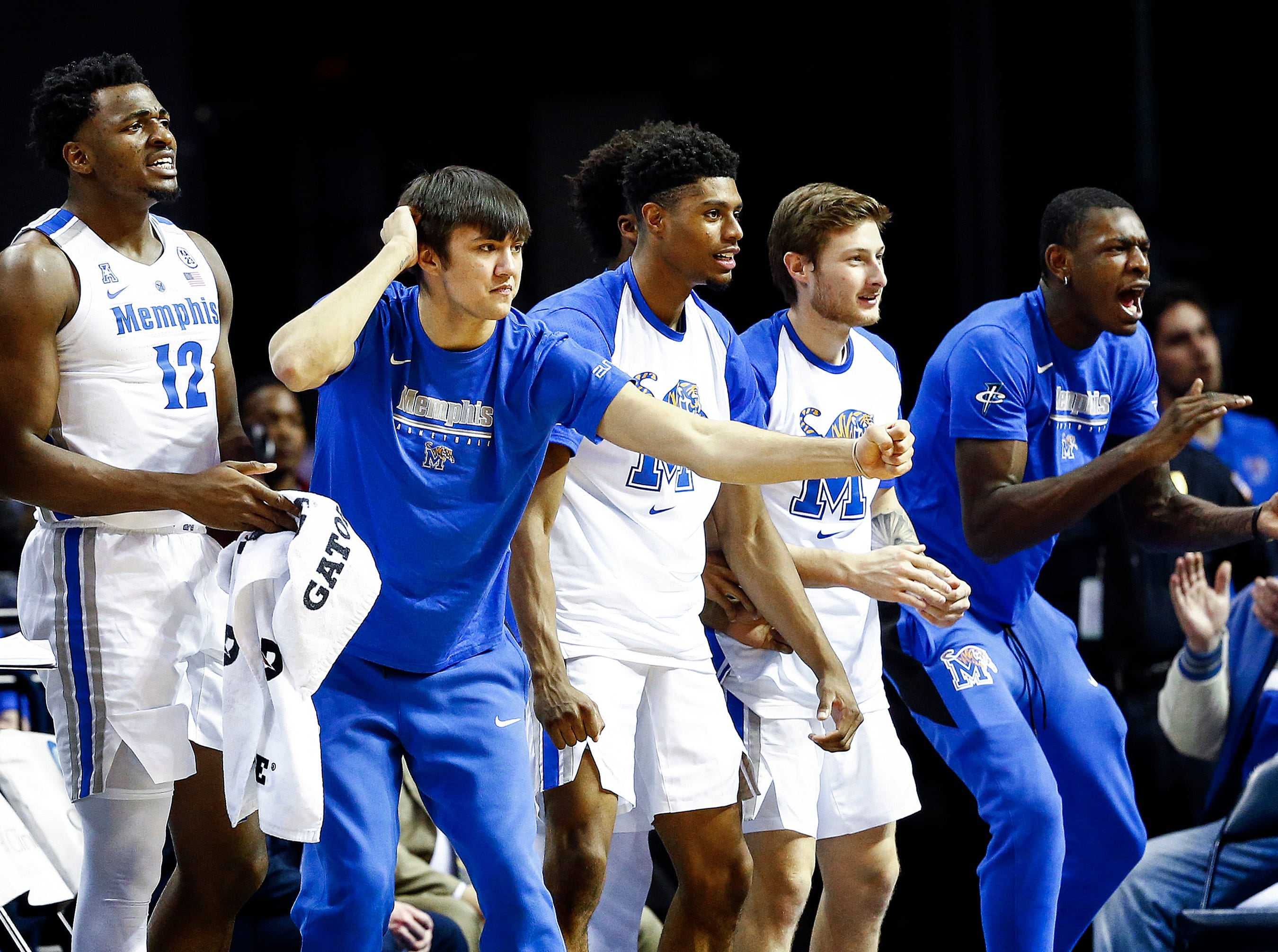 The Memphis bench celebrates during action against South Dakota State at the FedExFourm., Tuesday, December 4, 2018.