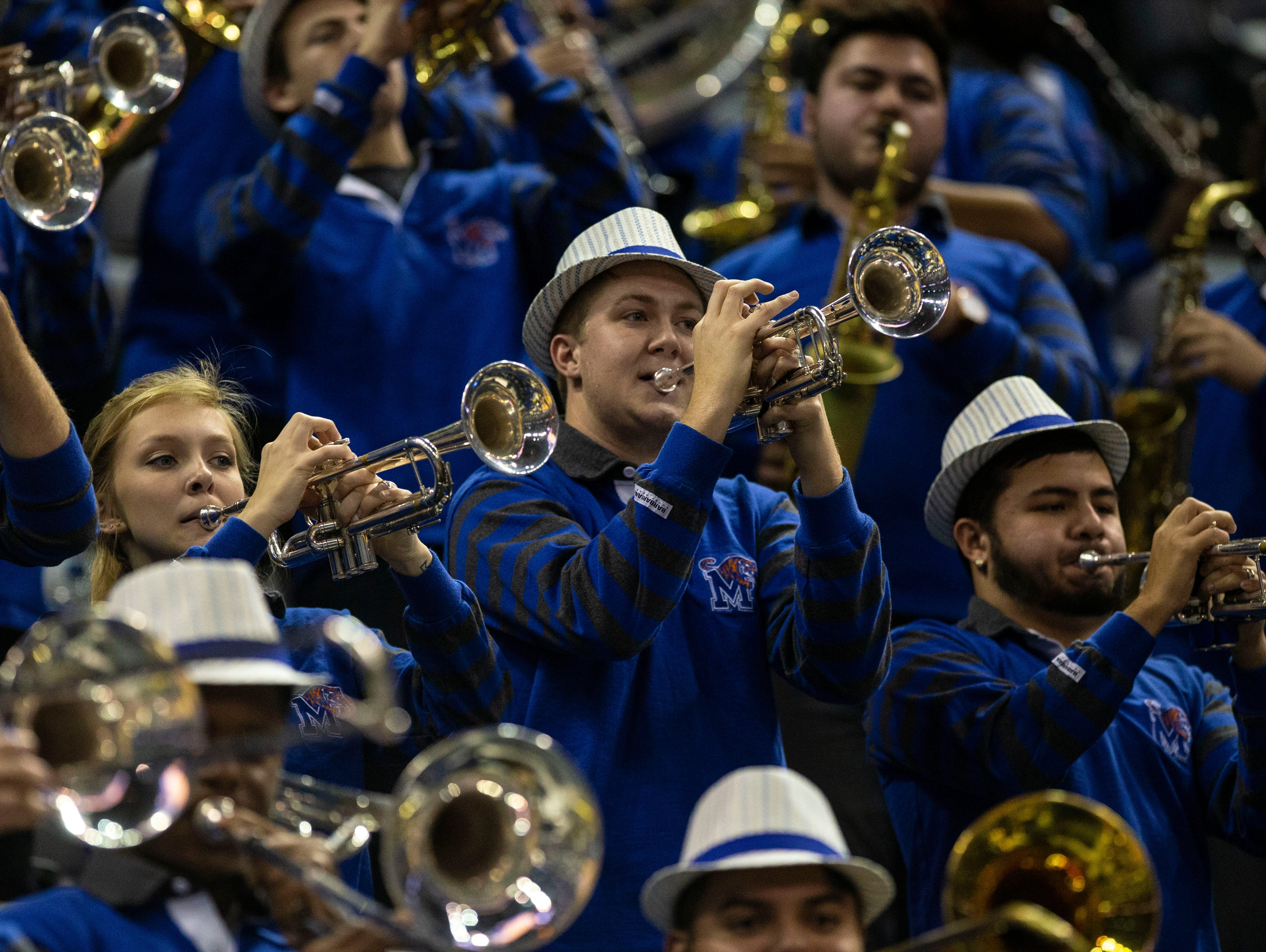 Memphis Tigers band plays during a basketball game between the Memphis Tigers and the South Dakota State Jackrabbits in the Fedex Forum, Tuesday, Dec. 4, 2018.