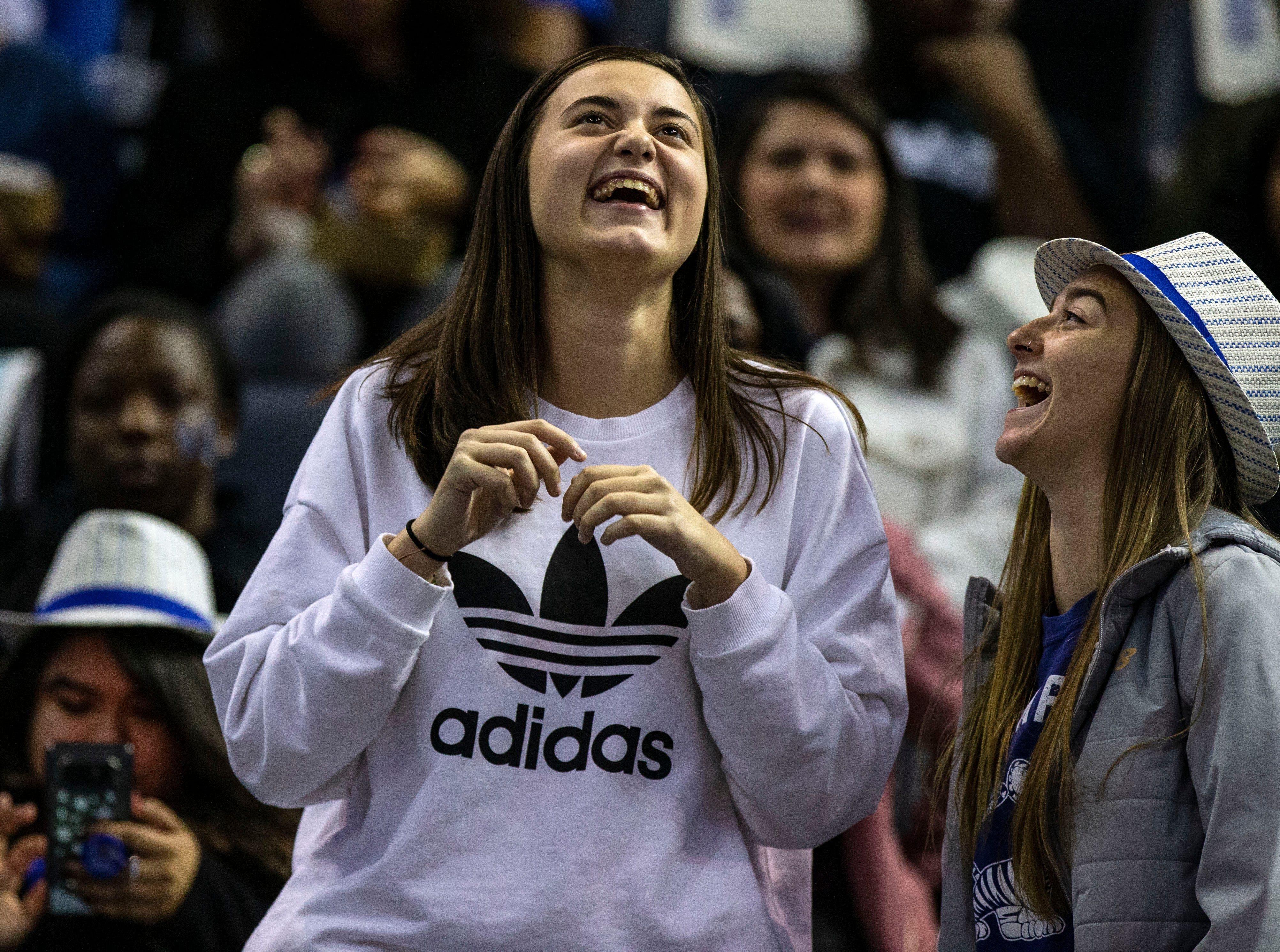 Memphis Tigers fans cheer in the stands during a basketball game between the Memphis Tigers and the South Dakota State Jackrabbits in the Fedex Forum, Tuesday, Dec. 4, 2018.