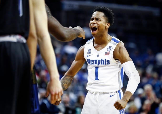 Memphis guard Tyler Harris celebrates teammate Raynere Thornton (not pictured) basket against South Dakota State during action at the FedExFourm., Tuesday, December 4, 2018.