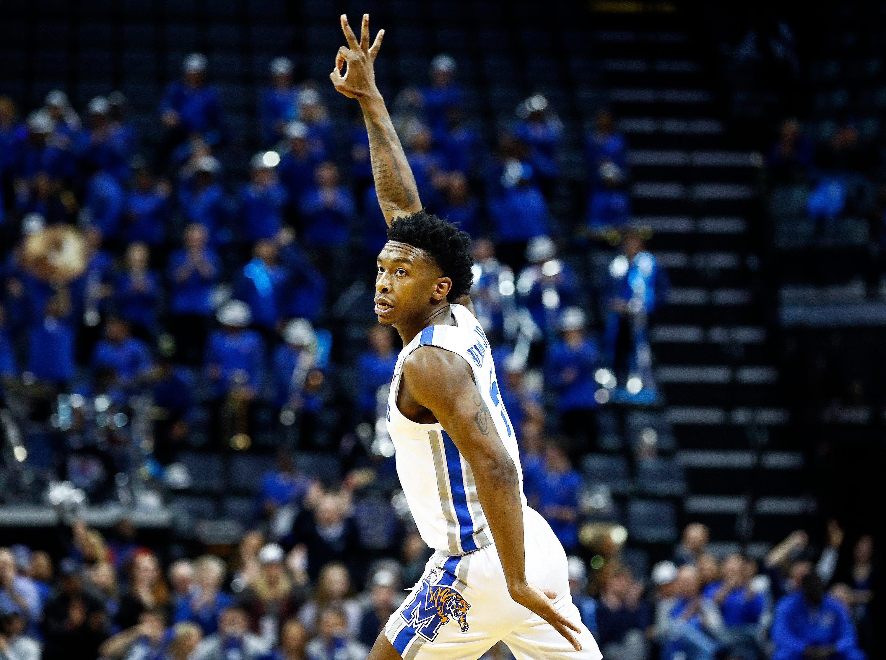 Memphis guard Kareem Brewton Jr. celebrates a made 3-pointer against South Dakota State during action at the FedExFourm., Tuesday, December 4, 2018.