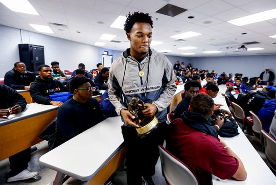 Nakobe Dean, Mississippi's 6A Mr. Football winner, was announced as a The Butkus Award winner in front of his Horn Lake High School classmates Wednesday afternoon.