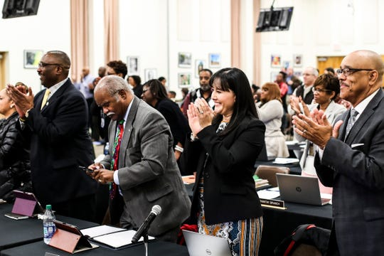 December 04 2018 - Dorsey Hopson receives a standing ovation during his last SCS school Board meeting as Superintendent of the Shelby County Schools.