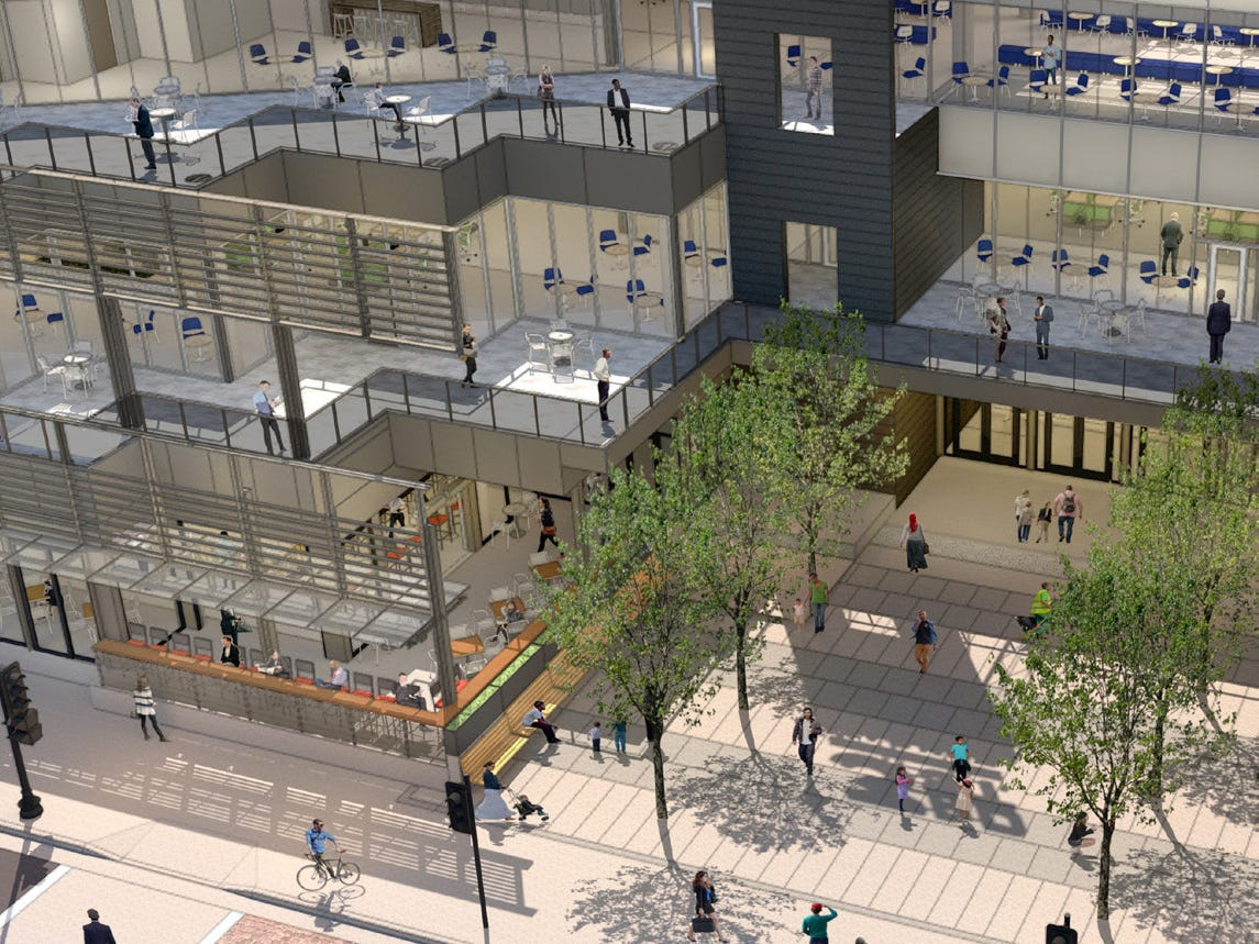 To come: A new food hall, offices and  apartments will be part of the mix when the current Shops of Grand Avenue is rebranded as The Avenue.