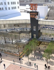 Upper-level patios will be private amenities for The Avenue's future office workers and a beer garden next to the public plaza will be reserved for food hall patrons.