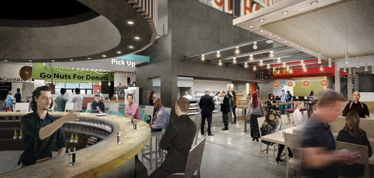 3rd Street Market Hall's focal point will be a central bar. The food hall's vendors will feature made-from-scratch items.