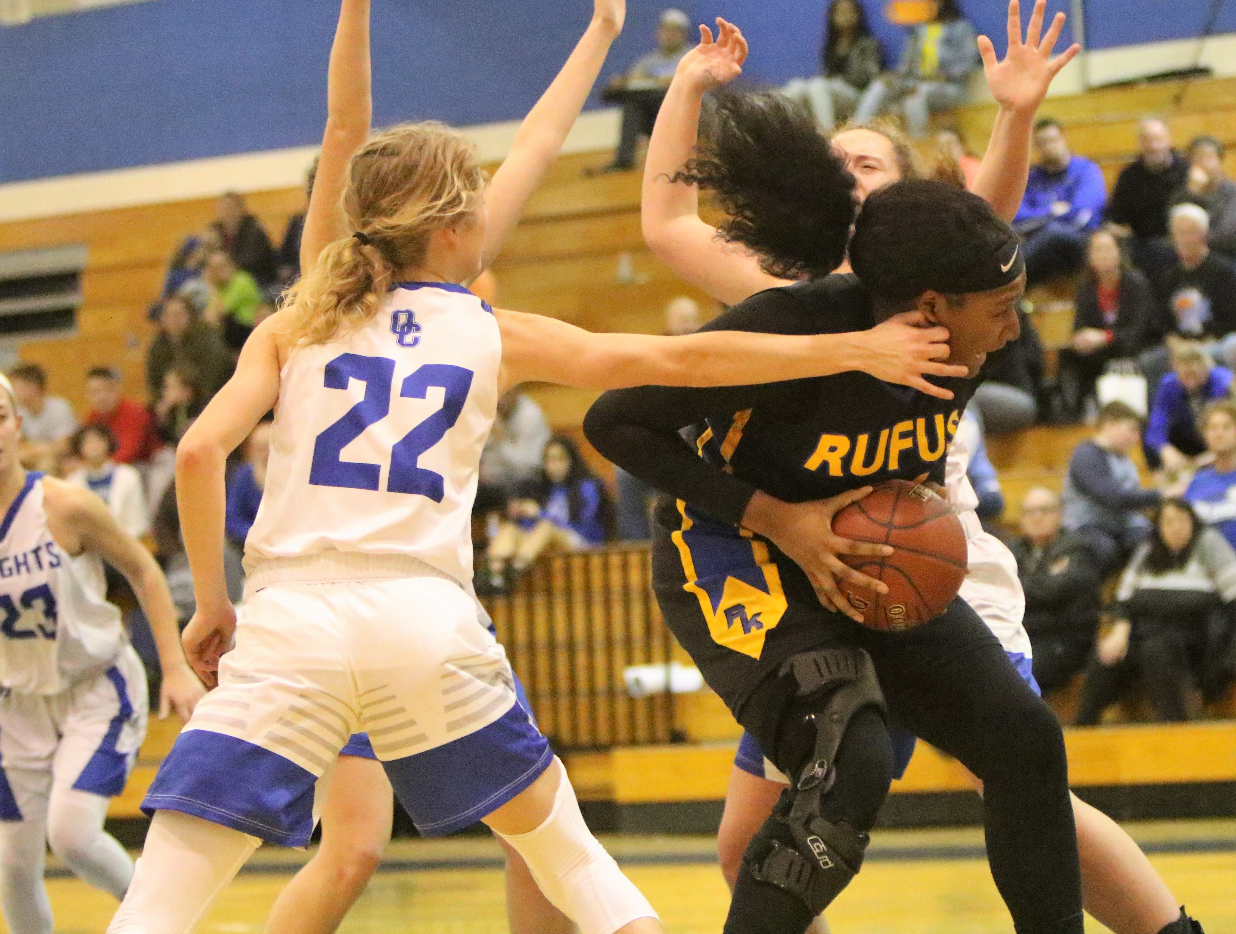 Milwaukee King center Sydnee Roby gathers herself before going up for a shot against Oak Creek on December 4.
