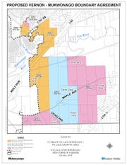 This map, presented at a Nov. 28 joint public hearing before the Vernon Town Board and the Mukwonago Village Board, shows the areas included in a proposed border agreement. Different parcels would be required to join the village no later than 10, 20 or 30 years after the agreement is approved, depending on where they live. In return, the village would agree not to annex any additional town of Vernon property.
