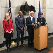 State Treasurer-elect Sarah Godlewski (from left), Lt. Governor-elect Mandela Barnes, Governor-elect Tony Evers, and Attorney General-elect Josh Kaul and held a news conference in Madison to address the legislation that was passed limitting power of the governor and attorney general during the floor sessions.