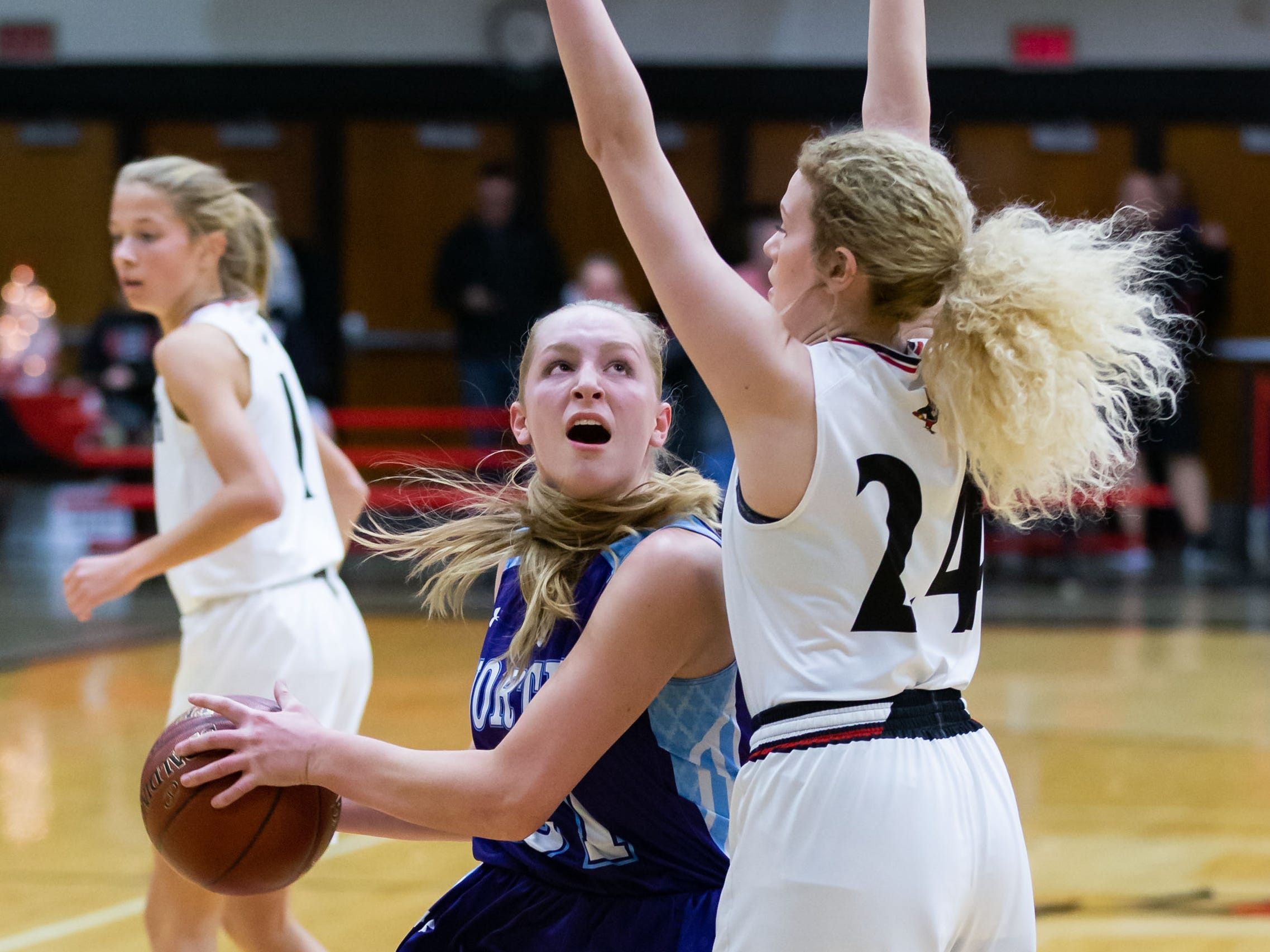 Waukesha North sophomore Kelly McIntyre (left) works to get past Waukesha South's Olivia Schumacher (24) during the game at South on Tuesday, Dec. 4, 2018.