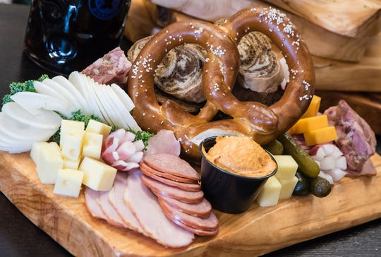 The Bavarian Bierhaus' Brozeitteller is served with one of the restaurant's traditional German pretzels.