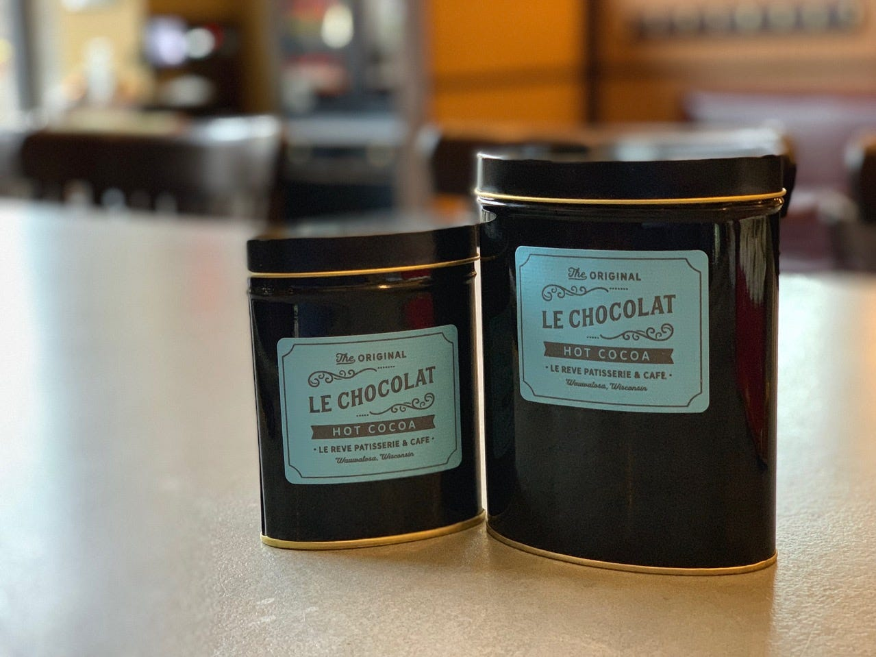 Le Reve Patisserie & Cafe, 7610 Harwood Ave., sells its drinking chocolate (hand-grated Valrhona and Cacao Barry) in tins to make at home.