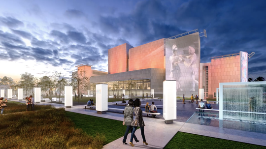 A rendering of the reimagined public spaces around the Marcus Center for the Performing Arts.
