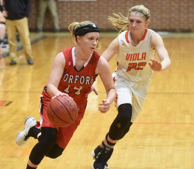 Norfork's Kinley Stowers dribbles past Viola's Keyaira Moore during the Lady Panthers' 64-52 win over the Lady Longhorns on Tuesday night at Viola.
