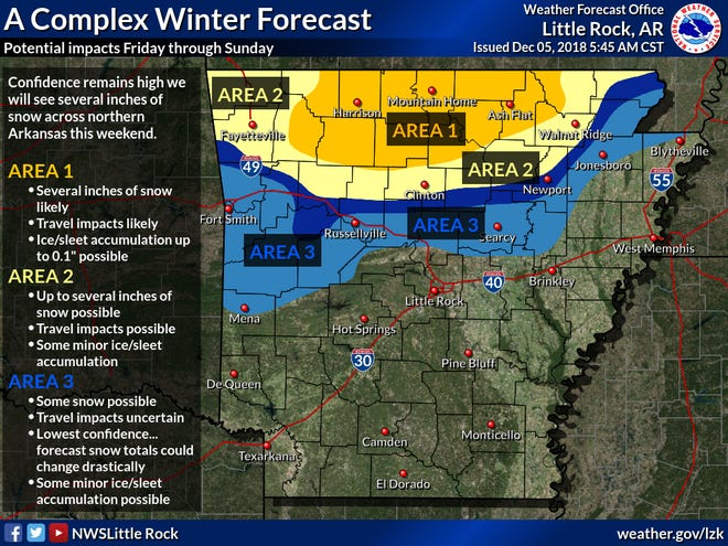A map from the National Weather Service shows their prediction for winter weather this coming weekend. The Twin Lakes Area is in Area 1 on the map, the area with the greatest chance to see several inches of snow. The map was created with data available as of Wednesday morning and is subject to change as the storm gets closer.