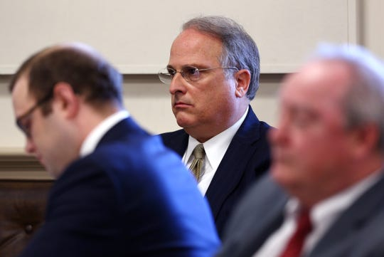 Attorney Greg Gianforcaro in Morris County Court, listens to opening statements after he was sued by the Order of St. Benedict for violating a 1988 confidentiality agreement that barred public disclosure of a settlement.  December 5, 2018, Morristown, NJ