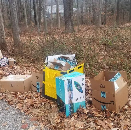 Amazon packages found on the side of a road in Harding; police investigate