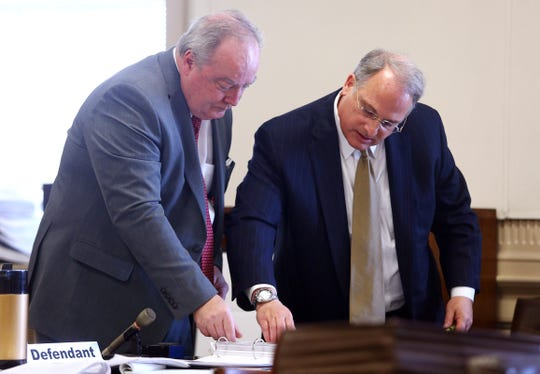 Attorney Christopher Carey covers with Greg Gianforcaro in Morris County Court. Carey represents Gianforcaro after he was sued by the Order of St. Benedict for violating a 1988 confidentiality agreement that barred public disclosure of a settlement.  December 5, 2018, Morristown, NJ