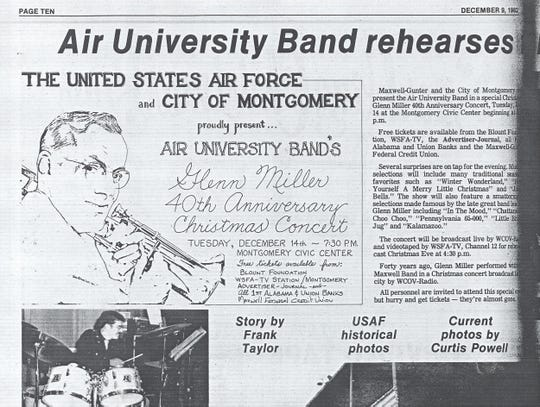 The revival of the Glenn Miller Christmas Concert is announced in the Maxwell Air Force Base newspaper, the Maxwell-Gunter Dispatch, Dec. 9, 1982, for the 40th anniversary of the December 1942 concert.