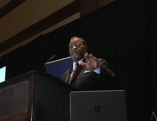 Montgomery County Commission chairman Elton Dean speaks to the Association of County Commissions of Alabama on December 5, 2018.