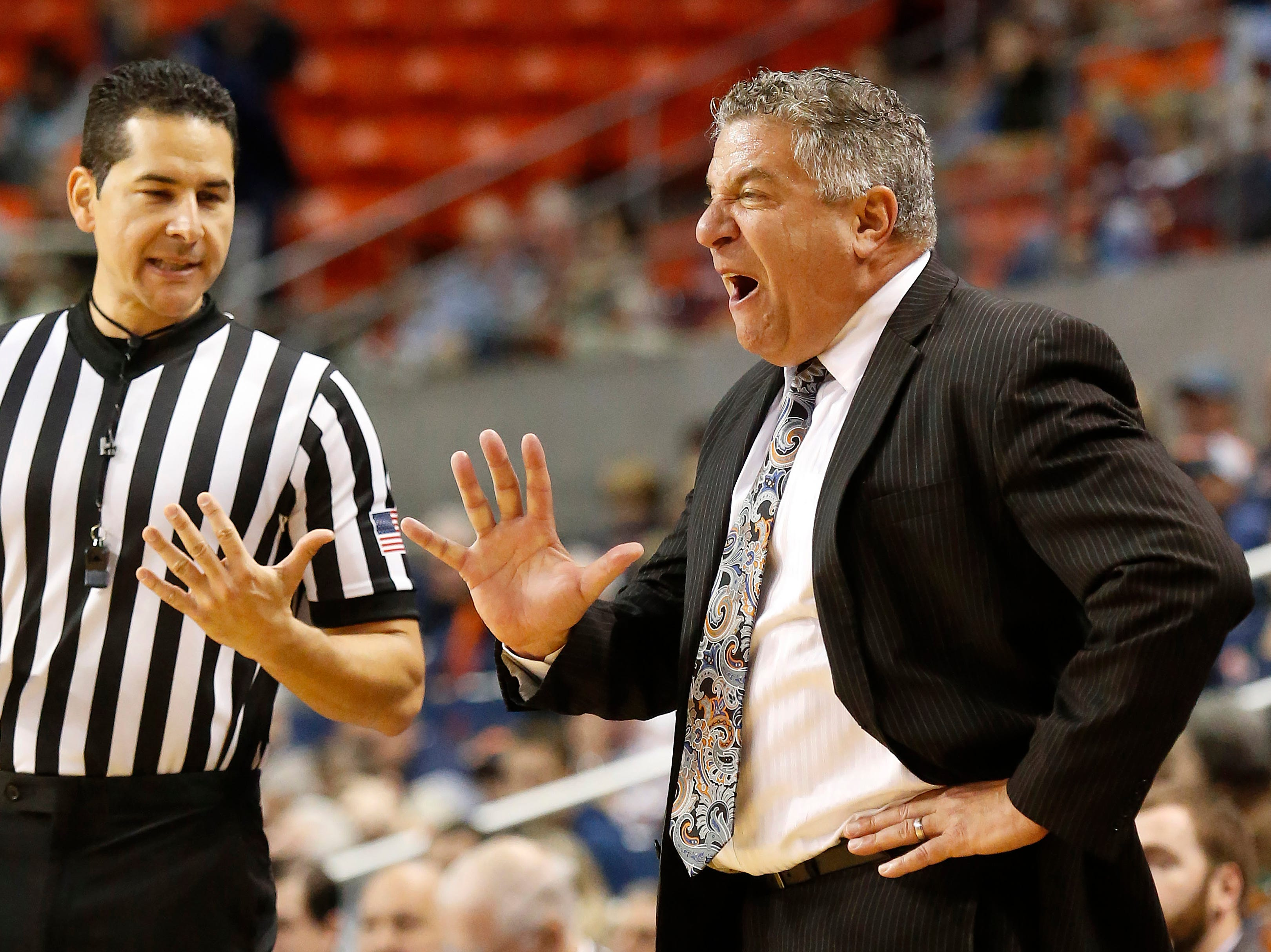 Dec 4, 2018; Auburn, AL, USA; Auburn Tigers head coach Bruce Pearl talks to an official after a foul against the UNC-Asheville Bulldogs during the second half at Auburn Arena. Mandatory Credit: John Reed-USA TODAY Sports