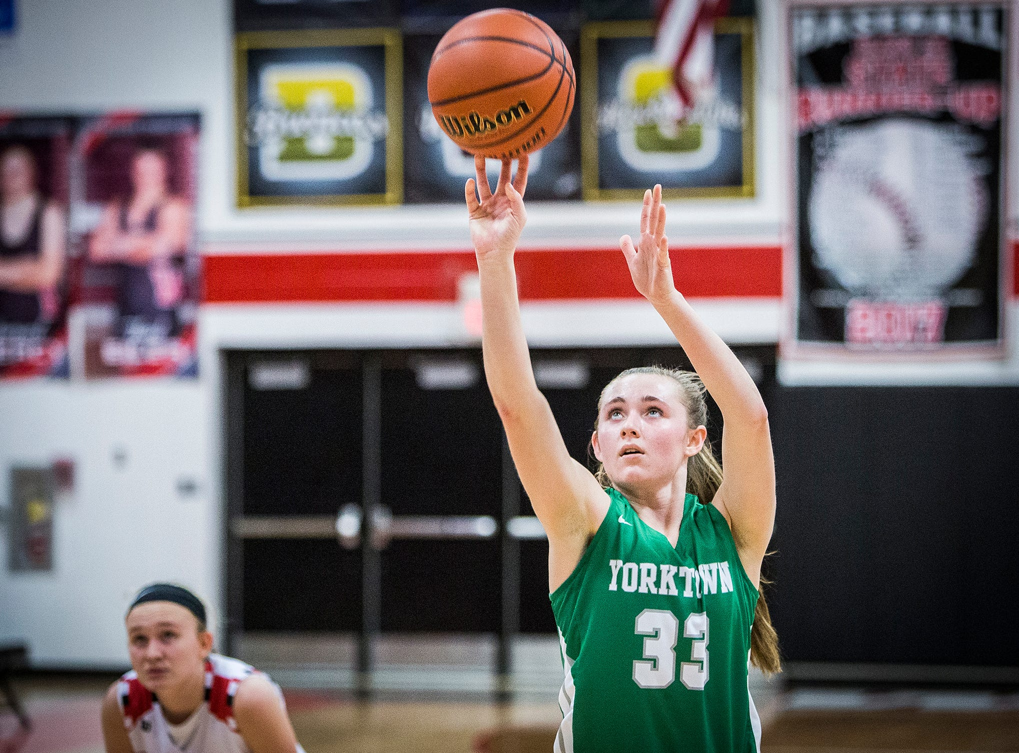 Yorktown's Tobi Bell shoots a free throw during their game against Wapahani at Wapahani High School Tuesday, Dec. 4, 2018.