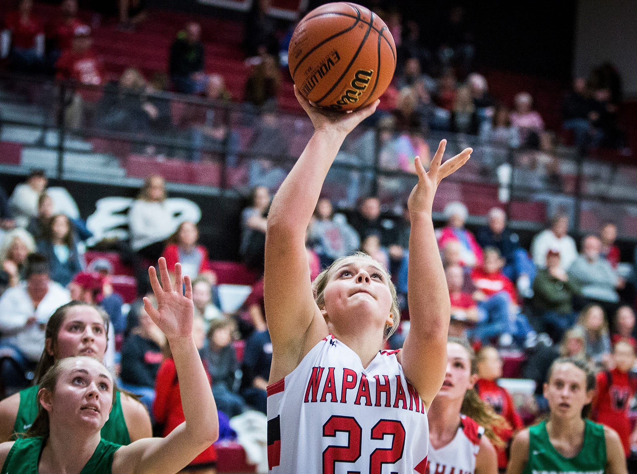 Wapahani's Lexi Humbert shoots past Yorktown's defense during their game at Wapahani High School Tuesday, Dec. 4, 2018.