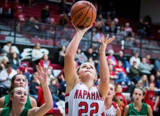 FILE -- Wapahani's Lexi Humbert shoots past Yorktown's defense during their game at Wapahani High School on Dec. 4, 2018.