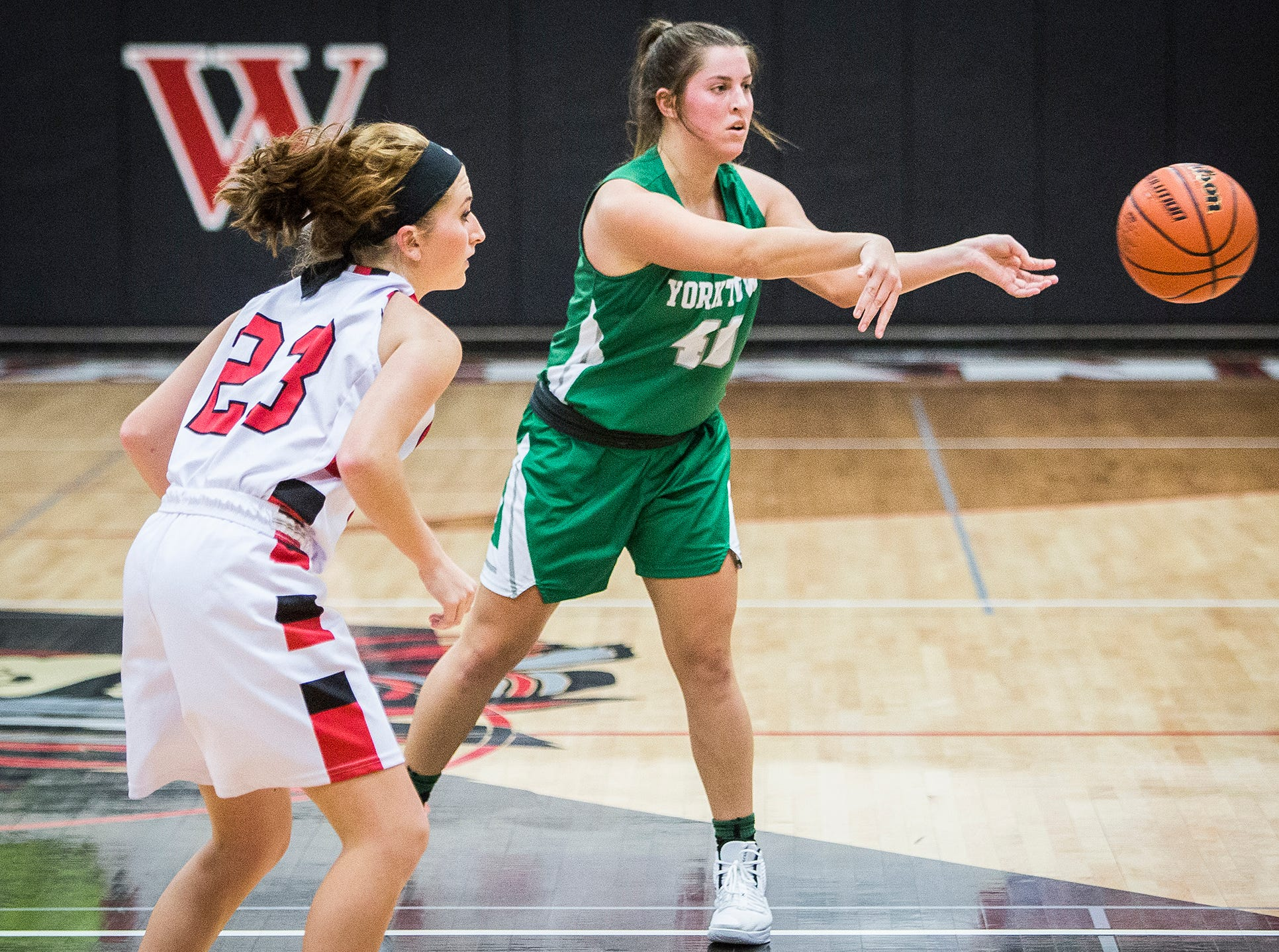 Yorktown's Ellie Miller reverses the ball against Wapahani during their game at Wapahani High School Tuesday, Dec. 4, 2018.