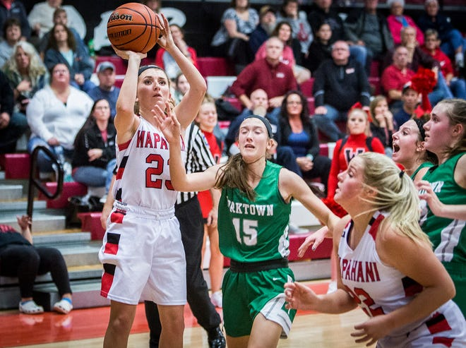 Wapahani's Carlie Boggs shoots against Yorktown's defense during their game at Wapahani High School Tuesday, Dec. 4, 2018.